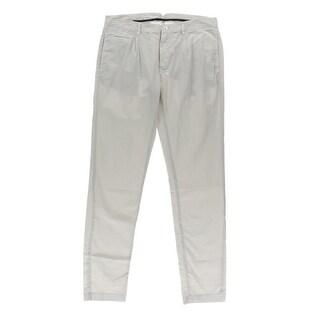 Zara Mens Cotton Solid Khaki Pants - 36