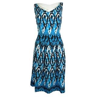 Anne Klein Women's Sleeveless Ikat Print Dress - capri multi