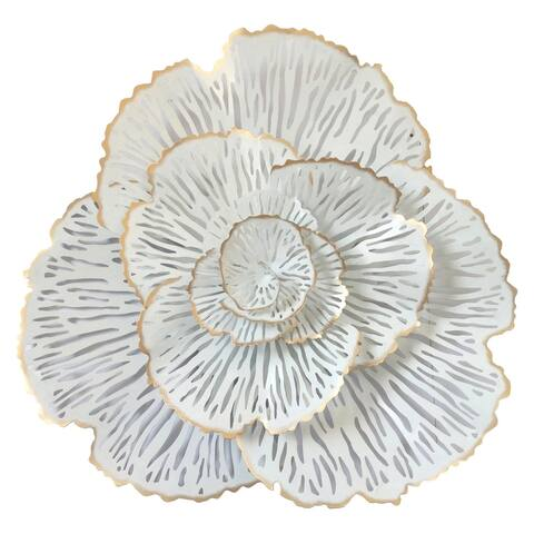 Plutus Brands Flower Wall Decor in White and Gold Metal