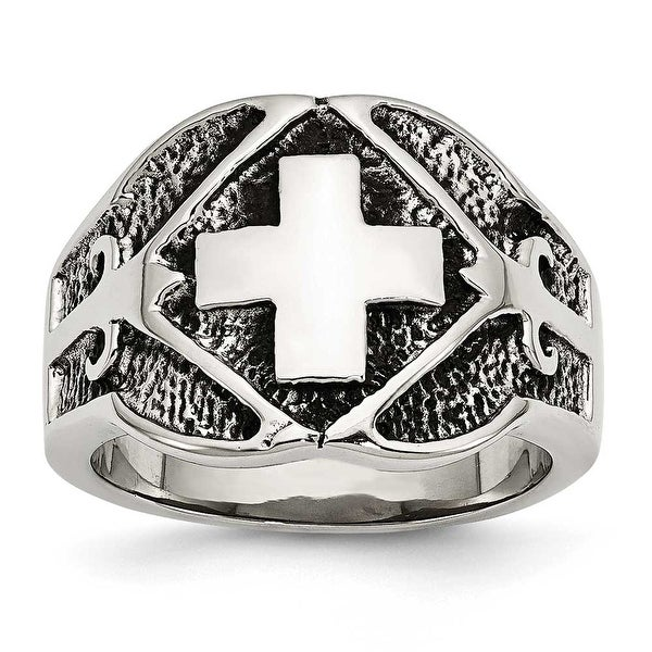Chisel Stainless Steel Polished & Antiqued Cross Ring