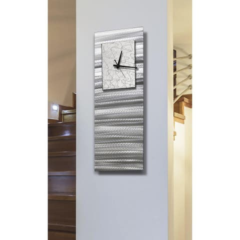 "Statements2000 Silver & White Wall Clock Modern Abstract Art by Jon Allen - Radiance Blanco - 24"" x 9"""