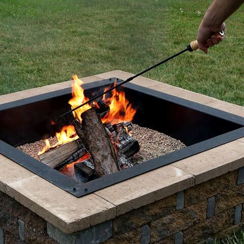 Sunnydaze Steel Camping Fireplace Fire Pit Poker with Wood Handle - 32-Inch - Black Black