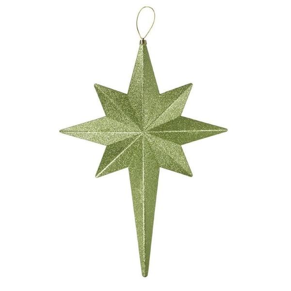 """20"""" Green Kiwi Glittered Bethlehem Star Shatterproof Christmas Ornament"""