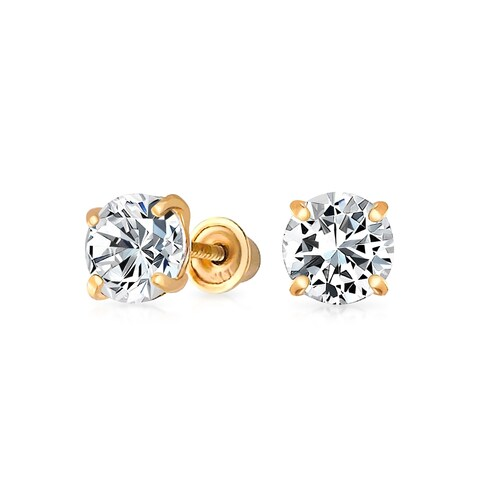 Bling Jewelry Kids CZ Square Saftey Screw Back Stud earrings 14k Gold 3mm