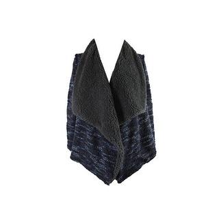 Vintage America Blue Multi Faux-Fur Open-Front Jacket XL