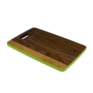 "18"" Large Handcrafted Walnut Wood Cutting Board with Lime Green Trim"