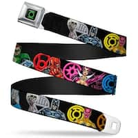 Green Lantern Logo Close Up Black Green Lantern The Blackest Night Heroes & Seatbelt Belt