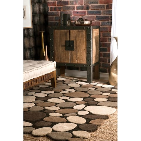 nuLOOM Stones and Pebbles Wool Handmade Area Rug