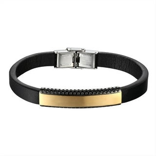 Black Leather Wristband Gold Tone Over Stainless Steel ID Tag