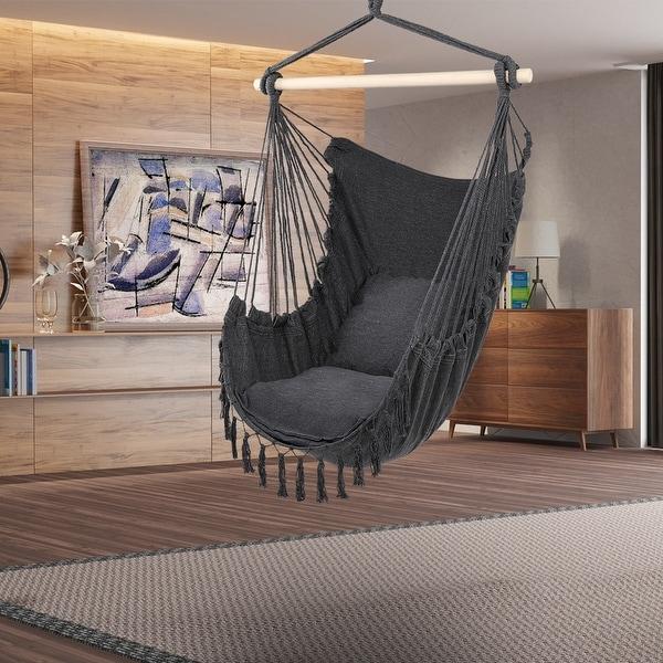 Outdoor/Indoor Pillow Tassel Hanging Chair Beige/Grey. Opens flyout.