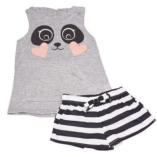 Little Girls Grey Animal Face Hooded Top Striped 2 Pc Shorts Pajama Set
