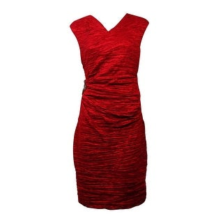 Calvin Klein Women's Embellished Crinkled Taffeta Sheath Dress - Red