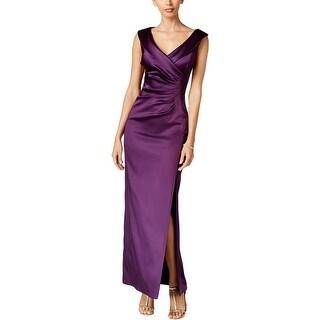 Tahari ASL Womens Evening Dress Collar Faux Wrap