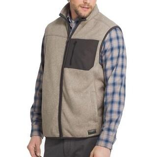 G.H Bass & Co Light Brown Mens Size Large L Vest Mock-Neck Jacket