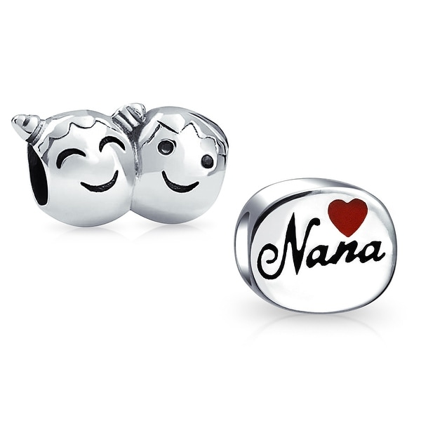 95dffef00 Shop Nana Grandma Family Brother Sister Smiley Face Heart Set of 2 Sterling  Silver Charm Bead Fit European Bracelet For Women - On Sale - Free Shipping  On ...