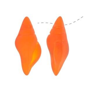 Cultured Sea Glass, Conch Shell Pendants 26x13mm, 2 Pieces, Tangerine Orange
