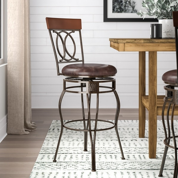 Linon Circle of Life Counter Stool with Brown PVC. Opens flyout.