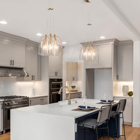 "Modern Gold 3-Light Tulip Bubble Glass Ceiling Pendant Lights for Living, Dining Room - D10.6"" x H106"""
