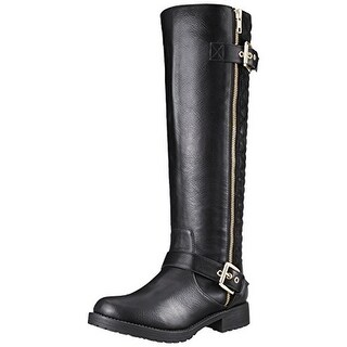 The Most Popular Qupid Turner-17 Round Toe Leather Mid Calf Boot Khaki For Women Selling Well