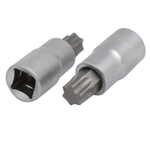 TX60 Torx Head 1/2-inch Square Chrome Vanadium Steel Drive Socket Adapter 2pcs