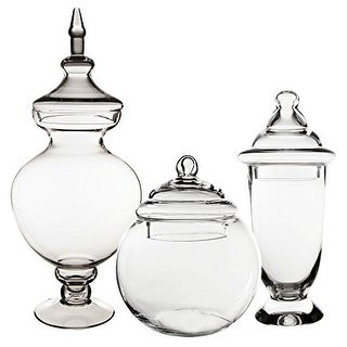 CYS® Apothecary Glass Jar Candy Buffet Jar/Vase Container with Lid, Set of 3