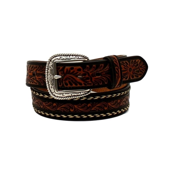 Ariat Western Belt Mens Embossed Leather Horse Hair Black Tan