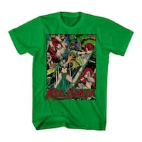 Red Sonja Battle Panels Men's Kelly Green T-shirt