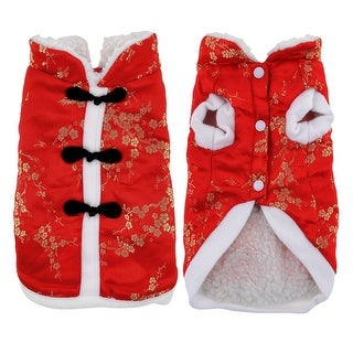 Traditional Chinese Tang Style Pet Puppy Dog Clothes Dog Apparel Suit Size M Red