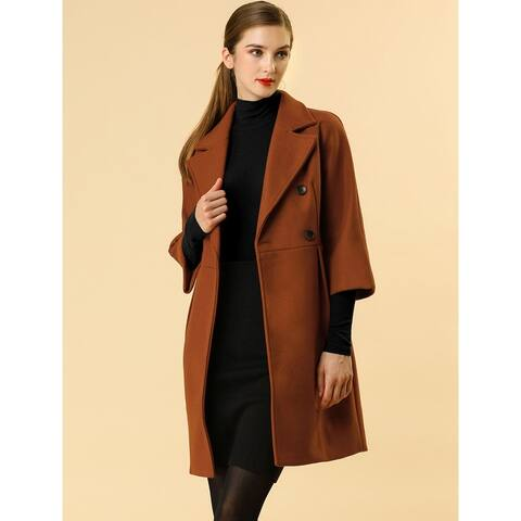 Women Double Breasted Notched Lapel Belted Vintage Raglan Winter Coats - Brown