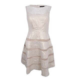 JAX Women's Beaded Embossed Illusion Fit & Flare Dress - Gold