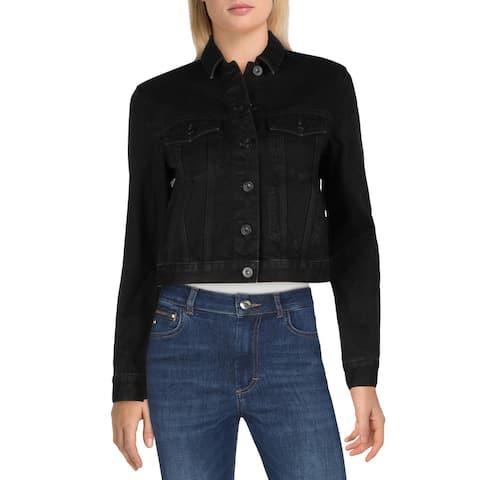 French Connection Womens Lilla Denim Jacket Dark Wash Cold Weather - Washed Black