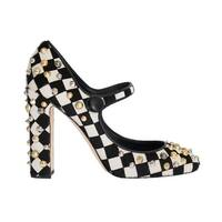 Dolce & Gabbana Black White Pony Fur Studded Leather Shoes