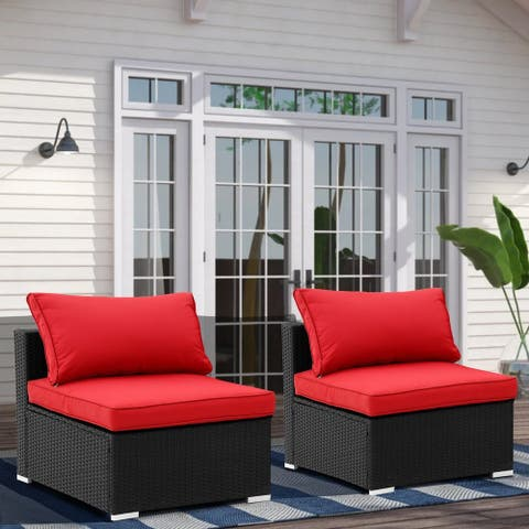Zenova 2 Pcs Rattan Sofa Sectional Set