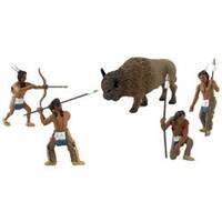 "4 Natives; 1 Buffalo approx 1.5"" 5/pkg - Scene Setters(R) Figurines"