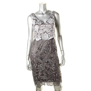Adrianna Papell Womens Lace Colorblock Evening Dress - 4