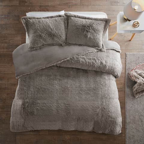 Intelligent Designs Leena Shaggy Fur Duvet Cover Set