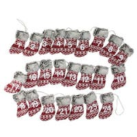 "94"" Red, White and Brown Countdown Christmas Stocking Garland - Unlit"