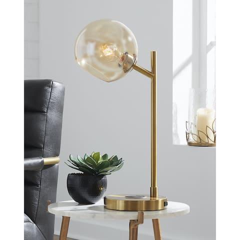 "Abanson Amber/Gold Metal Desk Lamp - 8""W x 11""D x 23""H"