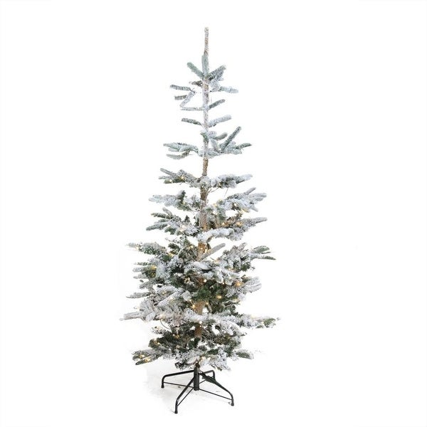 6.5' Pre-Lit Noble Fir Artificial Flocked Christmas Tree - Warm Clear LED Lights - green