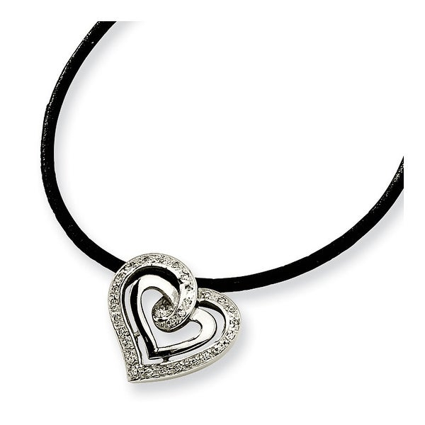 Chisel Stainless Steel CZ Pendant Necklace - 18 in