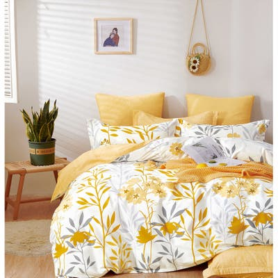 Autumn Yellow Floral 100% Cotton Reversible Comforter Set