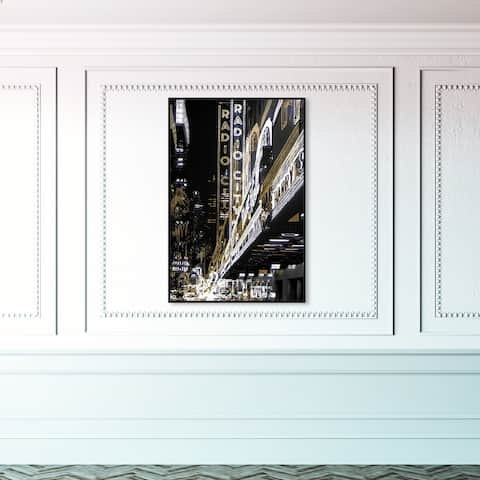 Oliver Gal 'Radio City Music Hall' Cities and Skylines Wall Art Framed Canvas Print United States Cities - Gold, Black