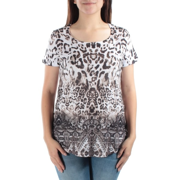 ef9b37be9b19fe Shop Womens Brown Animal Print Short Sleeve Boat Neck Hi-Lo Top Size S -  Free Shipping On Orders Over  45 - Overstock - 21301112