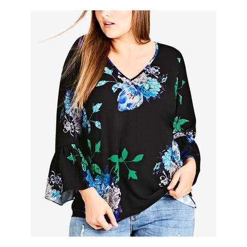CITY CHIC Womens Black Floral Print Bell Sleeve V Neck Top Size 14W
