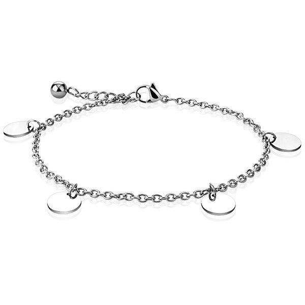 Round Charm Dangle 316L Stainless Steel Chain Anklet/Bracelet (13.5 mm) - 9.25 in