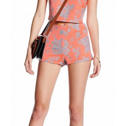 BB Dakota Women's Shorts Coral Orange Size 0 Thea Floral Jacquard