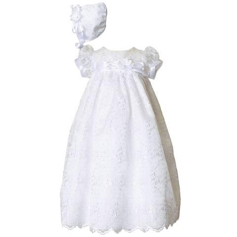 Baby Girls White Floral Satin Trim Short Sleeve Christening Dress Hat Set