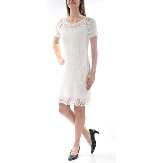 Womens White Short Sleeve Above The Knee Sheath Casual Dress Size: S