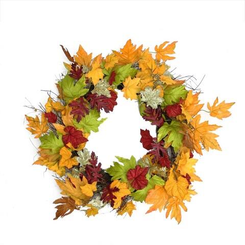 """22"""" Autumn Harvest Maple Leaf Artificial Thanksgiving Floral Wreath  Unlit - Orange"""