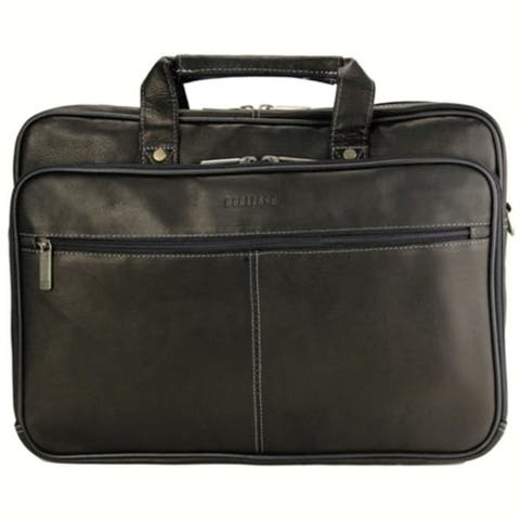 Heritage Travelware 827365 Black Colombian Leather Double Gusset Computer Case